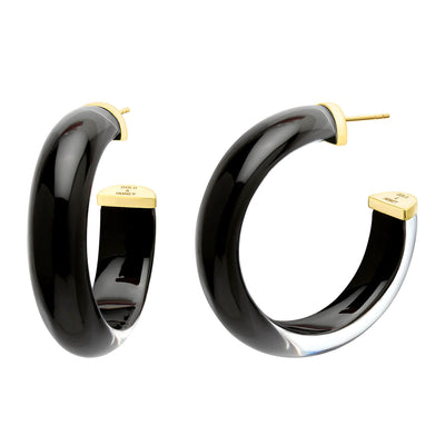 40mm Round Illusion Lucite Hoops - BLACK