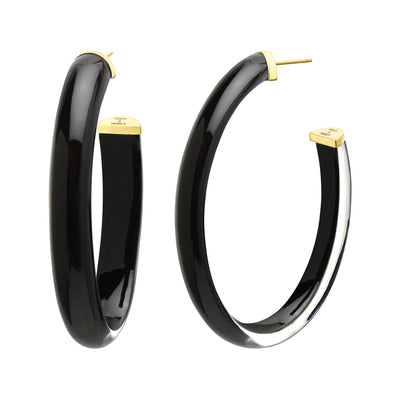 XL Oval Illusion Lucite Hoops in BLACK