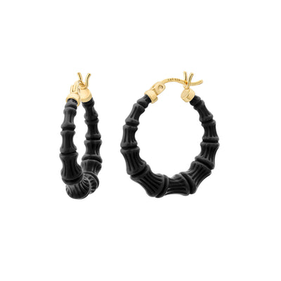 Mini Bamboo Hoops - BLACK