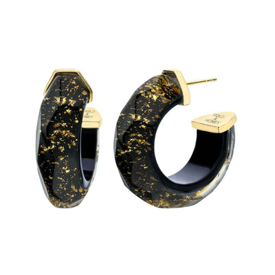 Gold Flake Faceted Lucite Hoops
