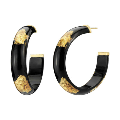 Medium Black & Gold Leaf Lucite Hoops
