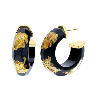 Gold Leaf Faceted Lucite Hoops - BLACK