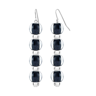 4 Drop Mini Bead Lucite Earrings - BLACK AND SILVER