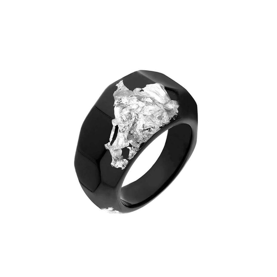 Black Lucite Ring with Silver Leaf