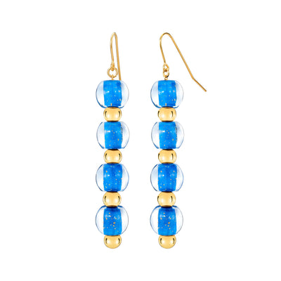 4 Drop Mini Bead Lucite Earrings - LAPIS