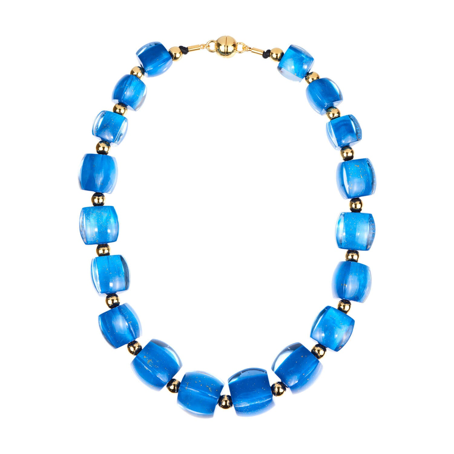 Beaded Lucite Necklace - LAPIS