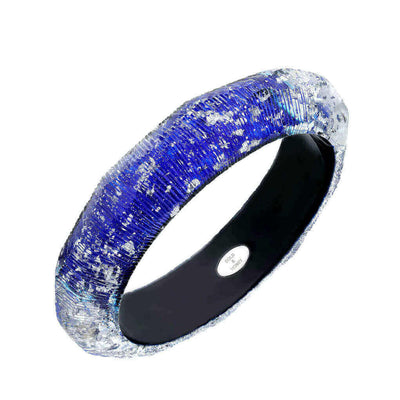 Silver Flake Faceted Lucite Bangle - BLUE