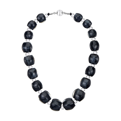 Beaded Lucite Necklace - BLACK ONYX SILVER