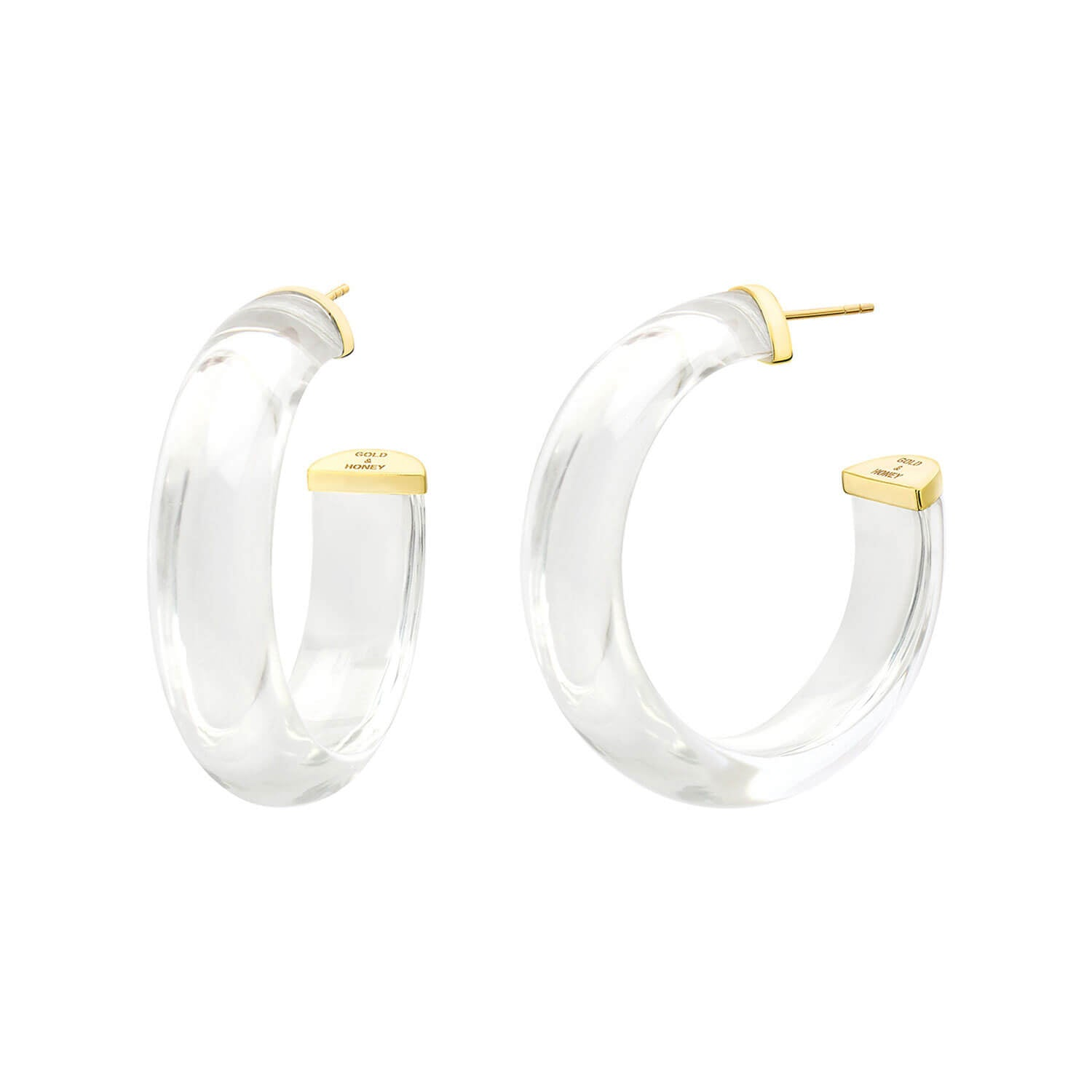 Small Illusion Lucite Hoops in CLEAR