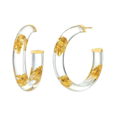 Medium Clear & Gold Leaf Lucite Hoops