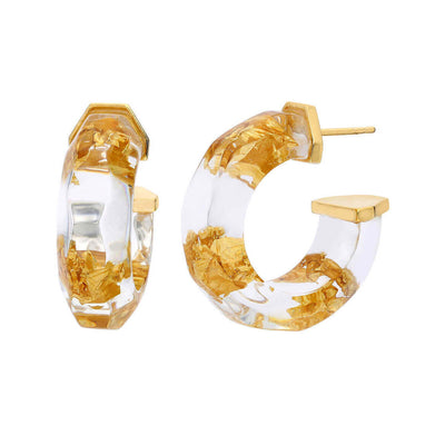 Gold Leaf Faceted Lucite Hoops - CLEAR