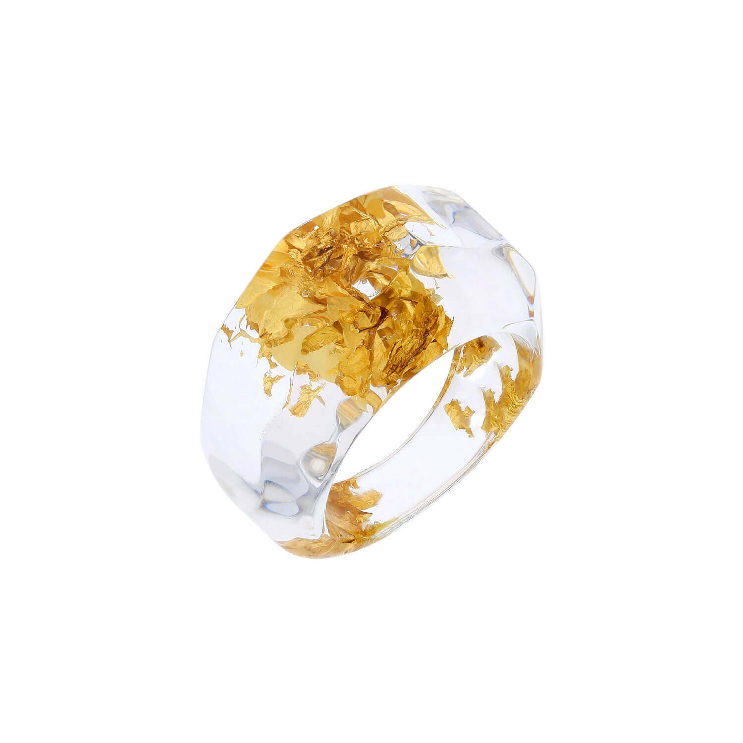 Clear Lucite Ring with Gold Leaf