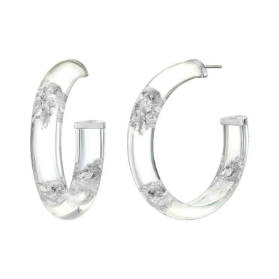 Medium Clear & Silver  Leaf Lucite Hoops