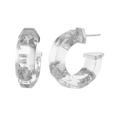 Clear Silver Leaf Hoops