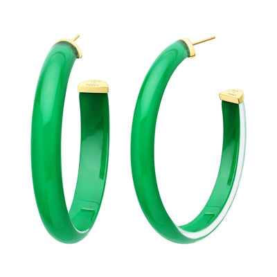 XL Oval Illusion Lucite Hoops in Dark Green