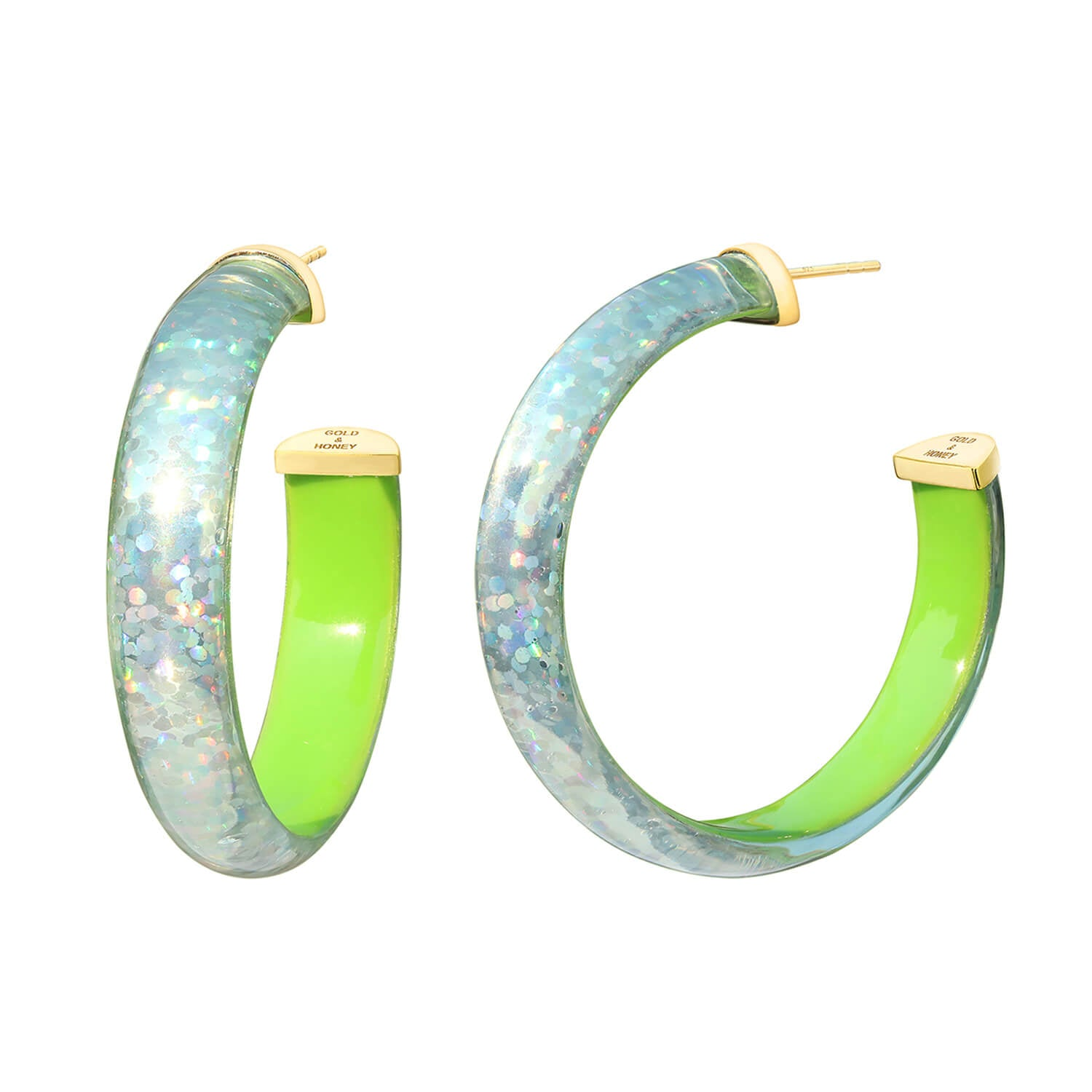 Disco Lucite Hoops in Neon Green