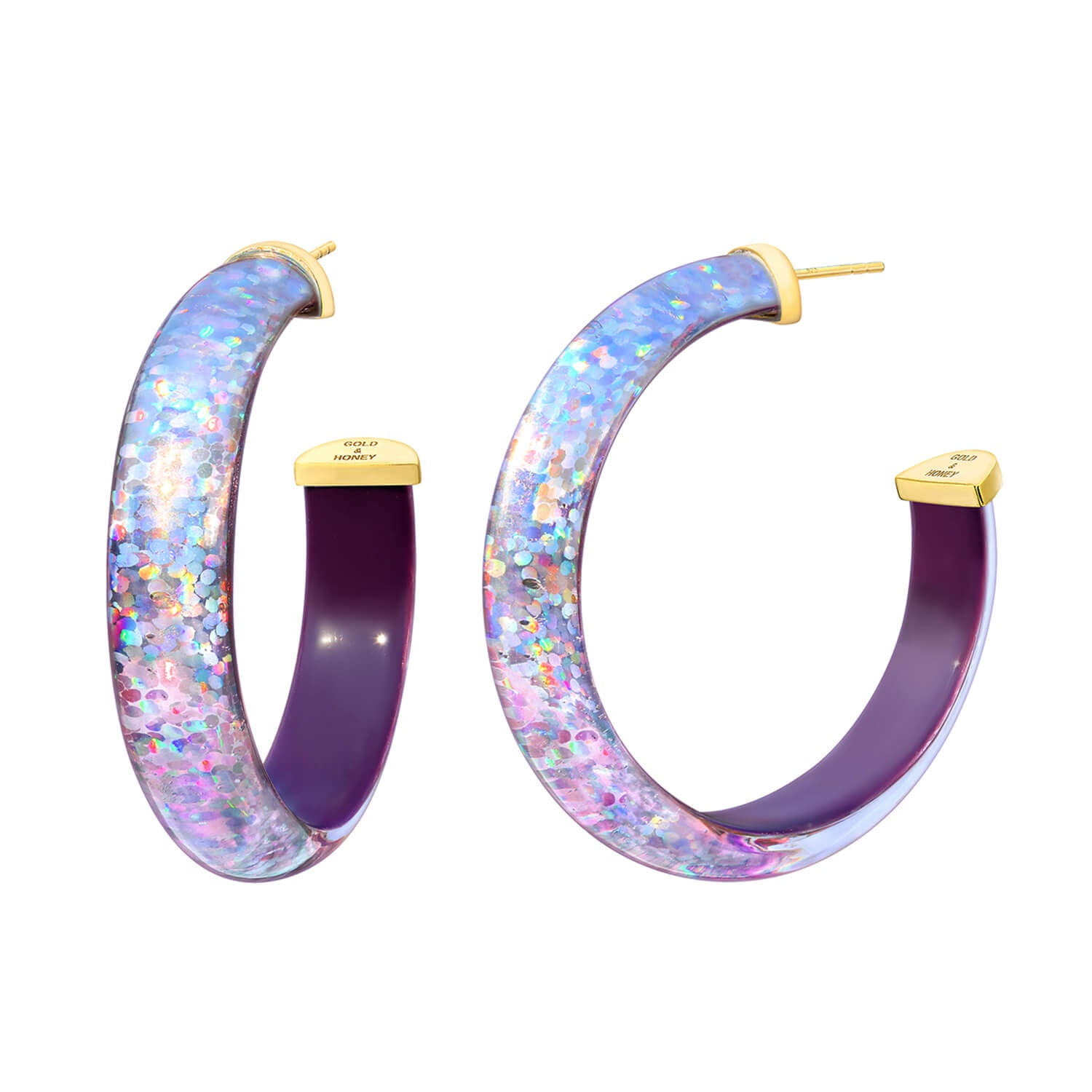 Disco Lucite Hoops in Purple