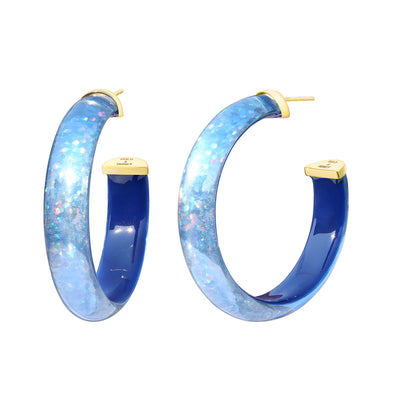 Disco Lucite Hoops in Blue