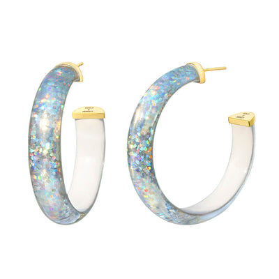 Disco Lucite Hoops in White