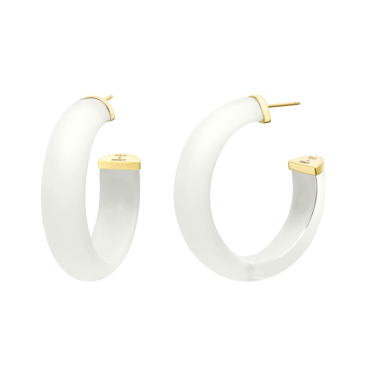 Small Illusion Lucite Hoops in FROSTED