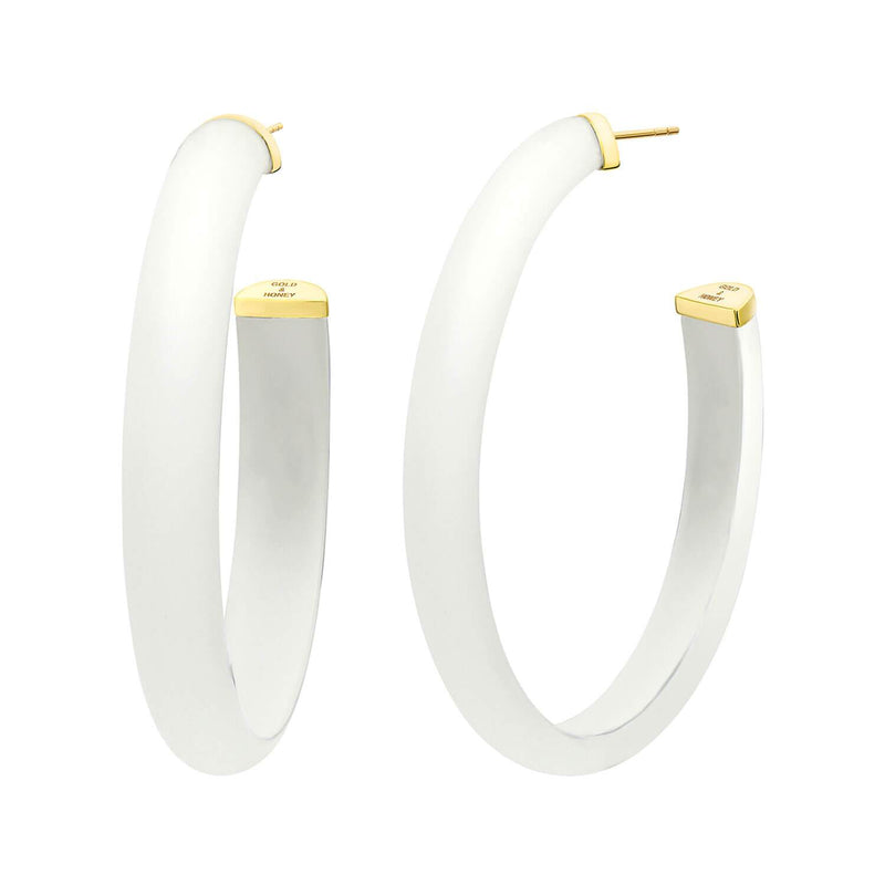 XL Oval Illusion Lucite Hoops in Clear
