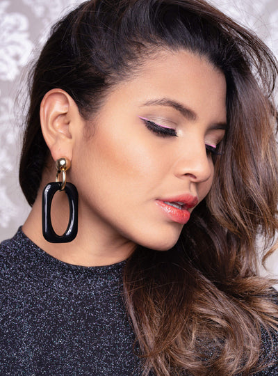 Black Oversized Rectangle Lucite Earrings ON MODEL