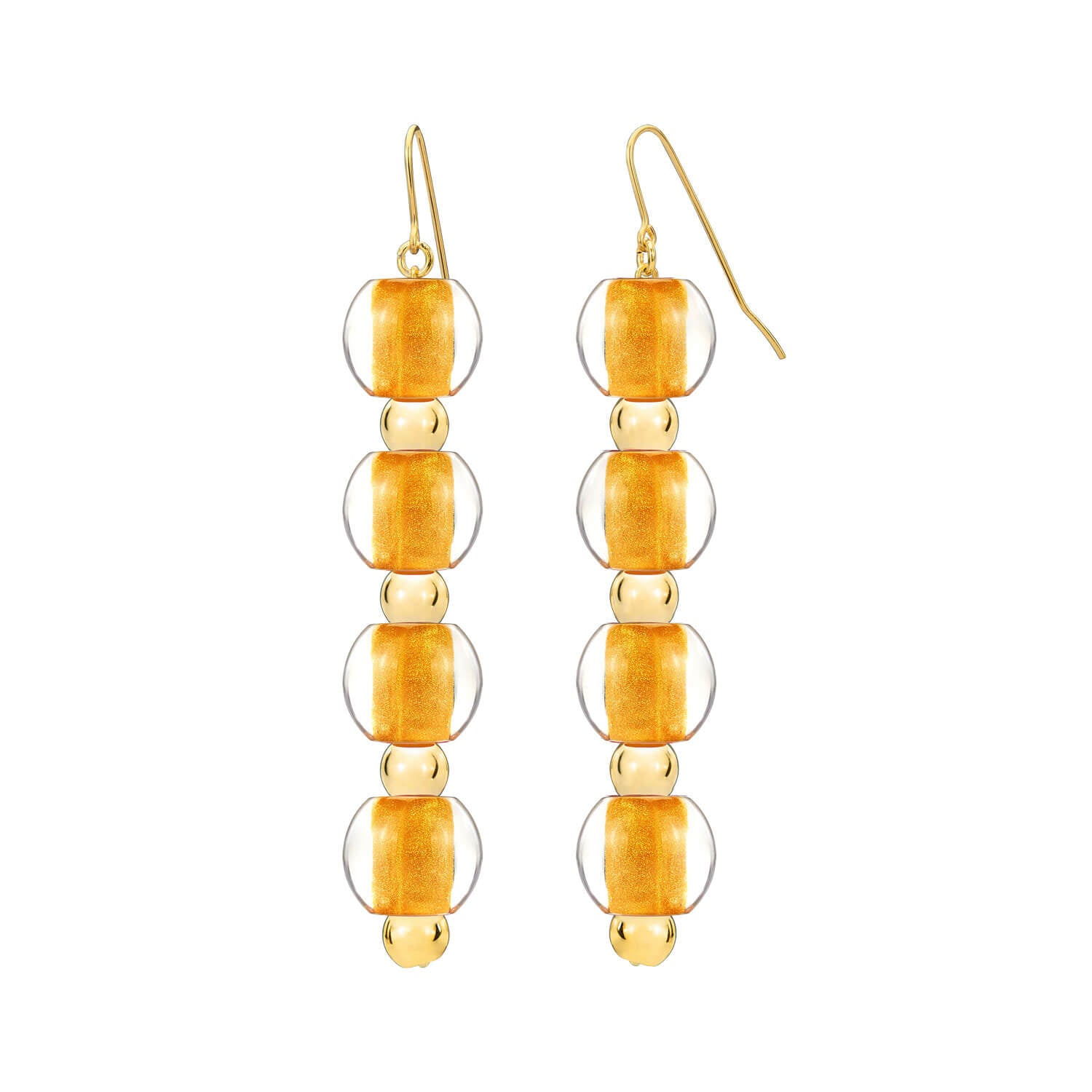 4 Drop Mini Bead Lucite Earrings - GOLDEN NUGGET