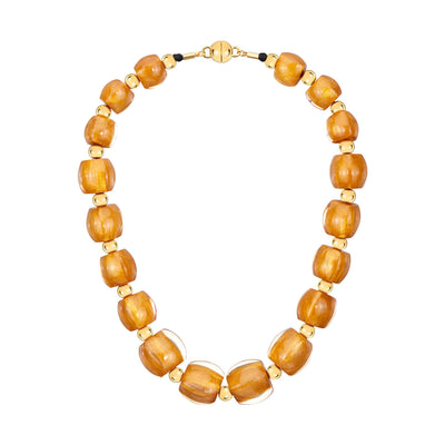 Beaded Lucite Necklace - GOLDEN NUGGET