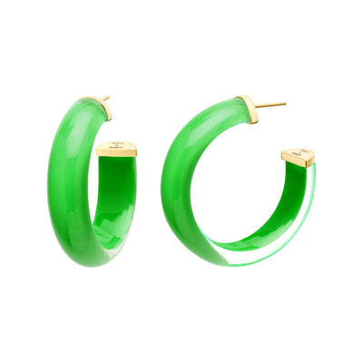 Small Illusion Lucite Hoops in Green
