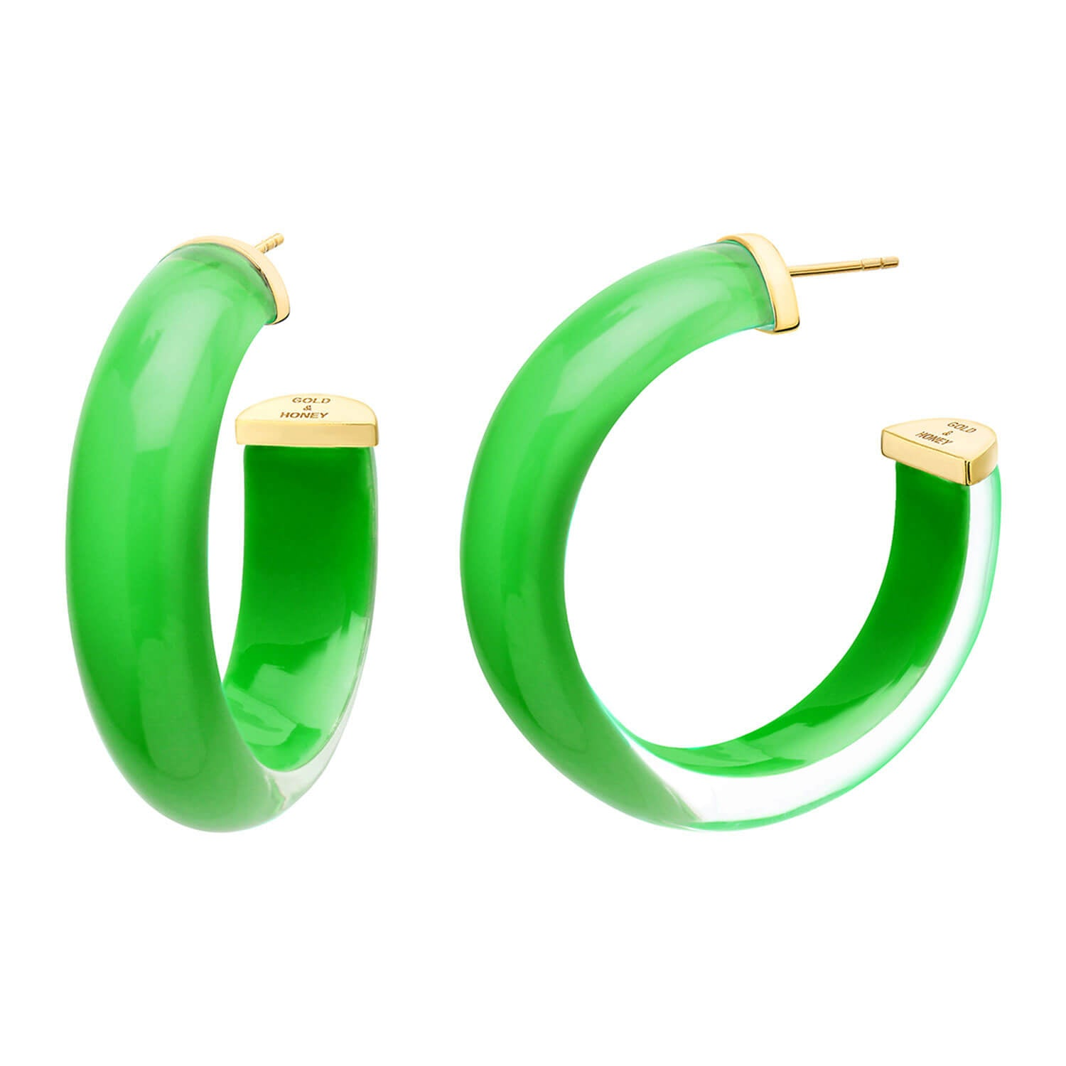 Medium Illusion Lucite Hoops in Green