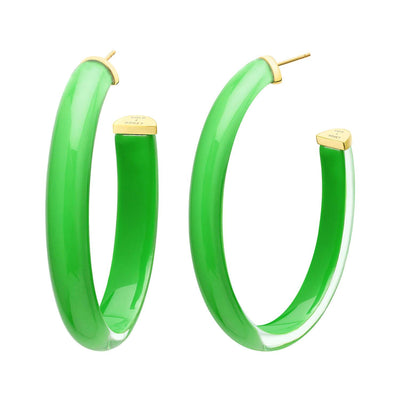 XL Oval Illusion Lucite Hoops in Green
