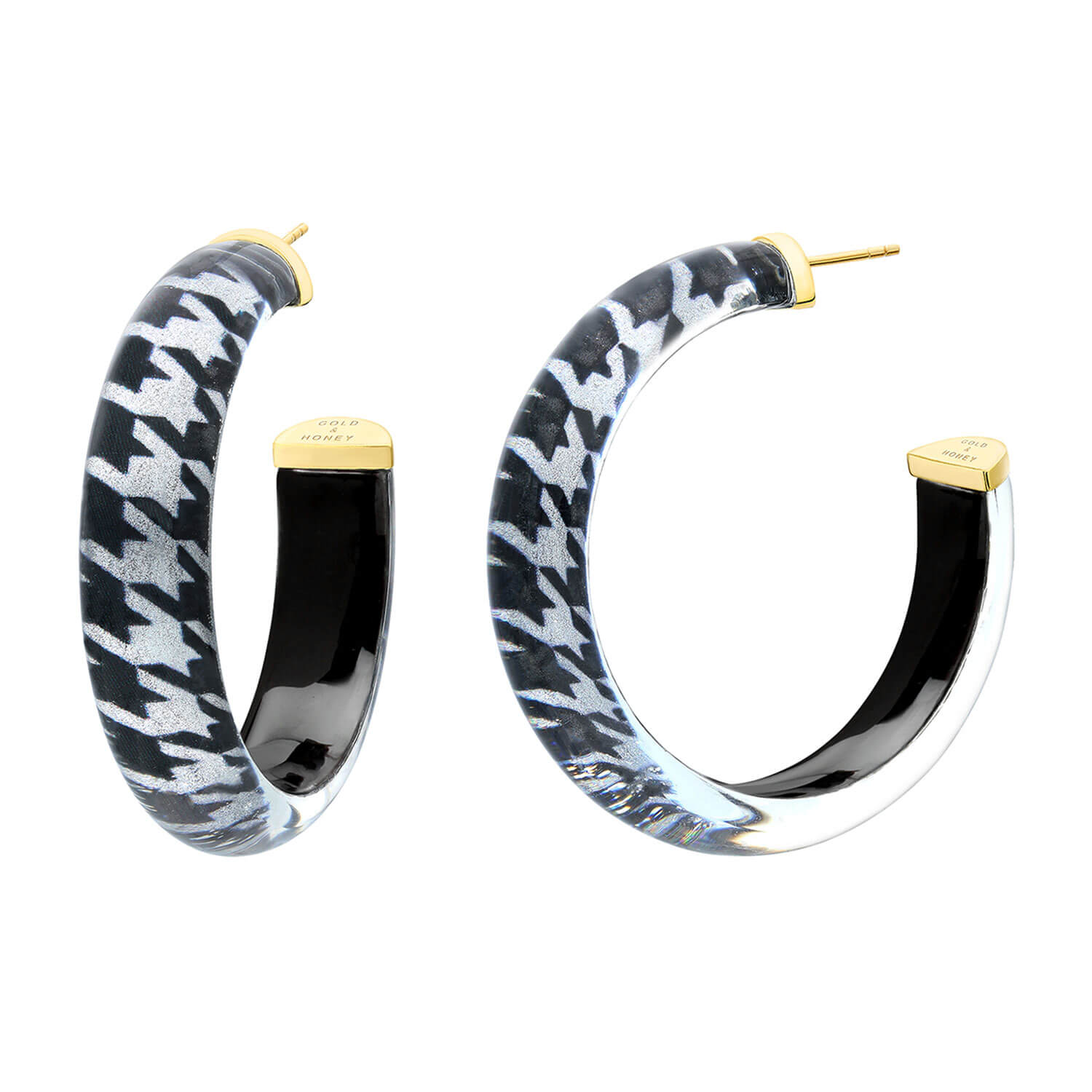 Medium Illusion Lucite Hoops in Houndstooth