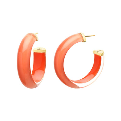 Small Illusion Lucite Hoops in LIVING CORAL