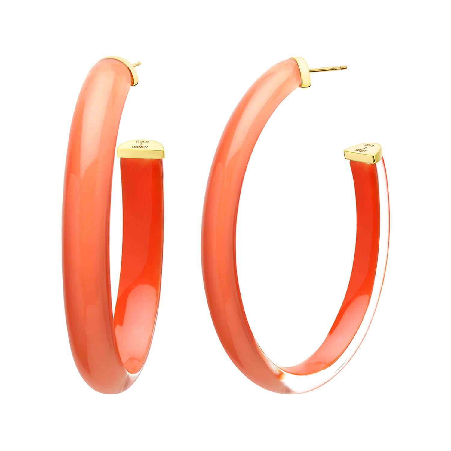 XL Illusion Lucite Hoops in LIVING CORAL