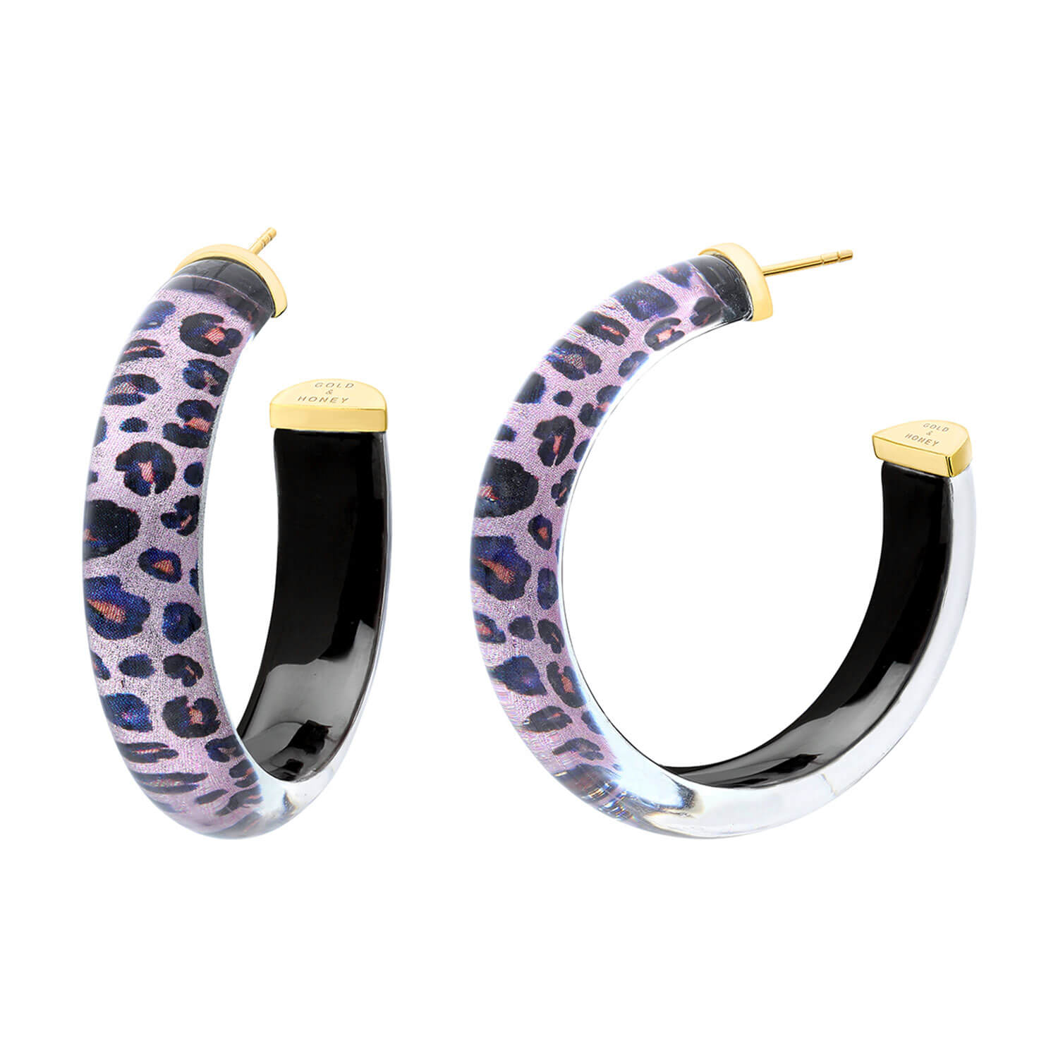 Medium Illusion Lucite Hoops in Leopard