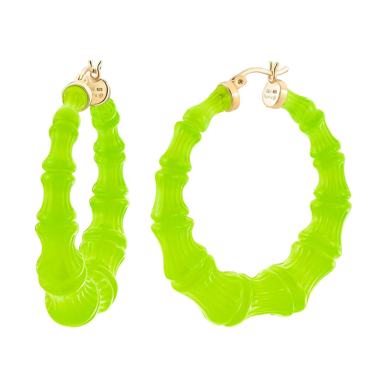 Neon Green Bamboo Hoops