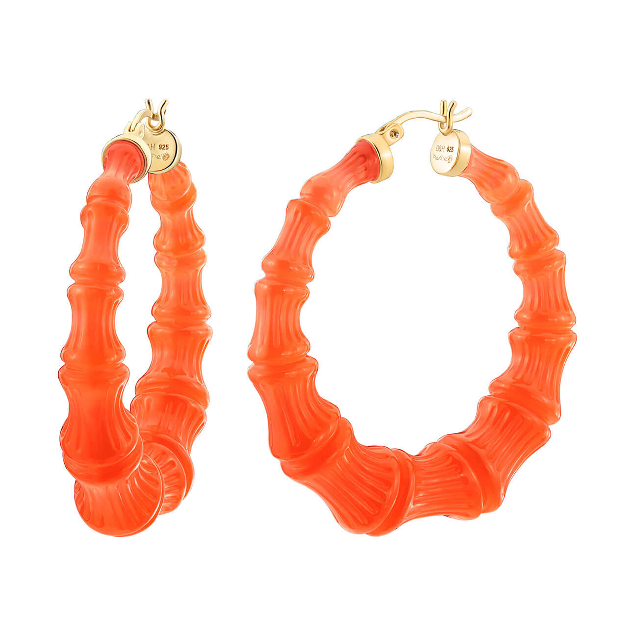 Neon Orange Lucite Bamboo Hoops