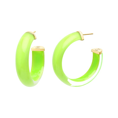Small Illusion Lucite Hoops in NEON GREEN