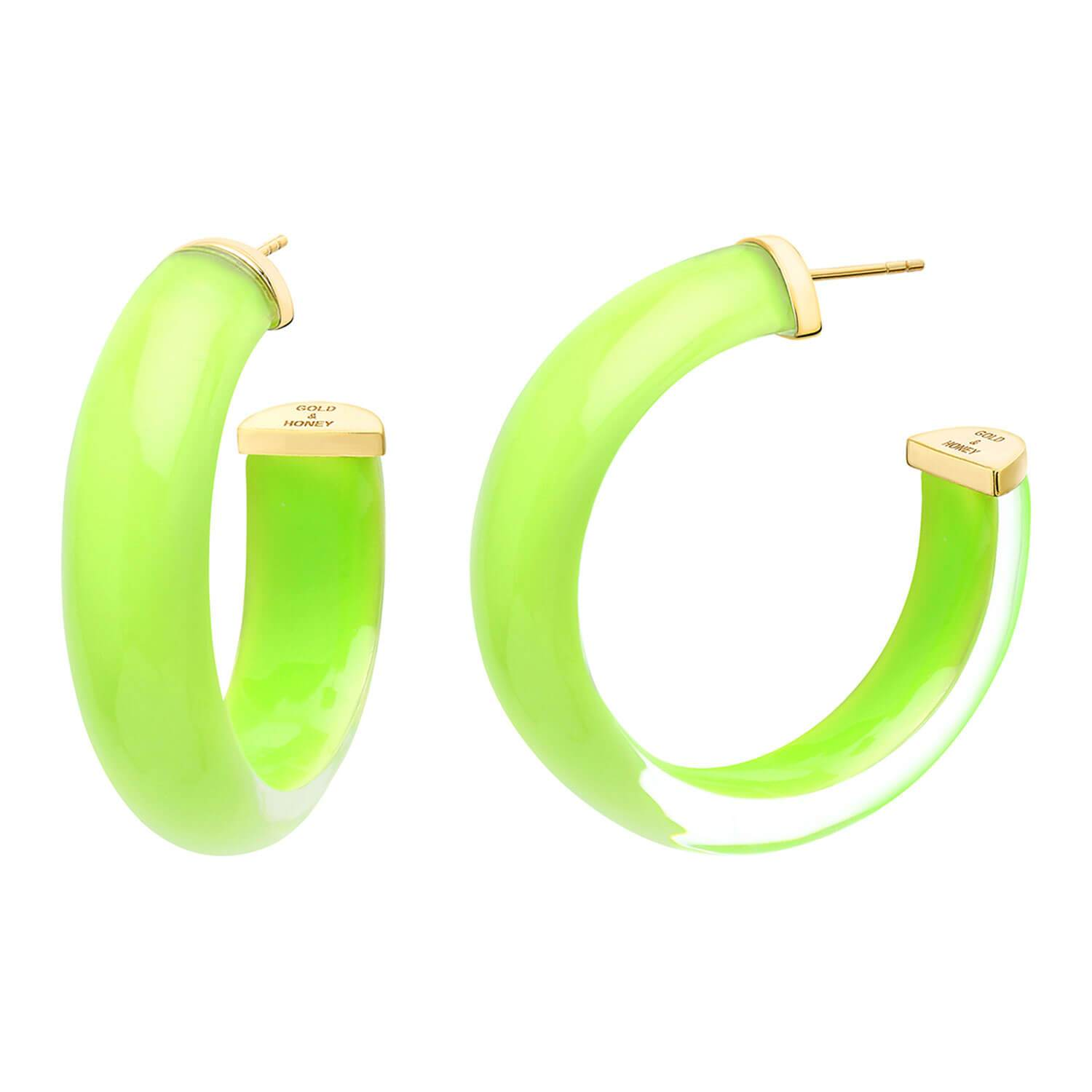 Medium Illusion Lucite Hoops in NEON GREEN