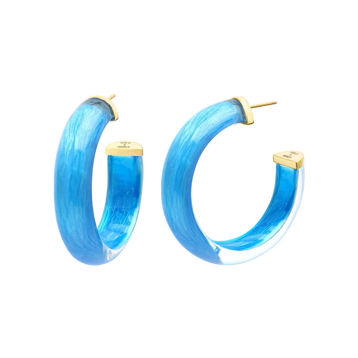Small Illusion Lucite Hoops in ORIGINAL LAPIS
