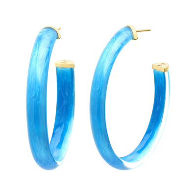 XL Oval Illusion Lucite Hoops in ORIGINAL LAPIS