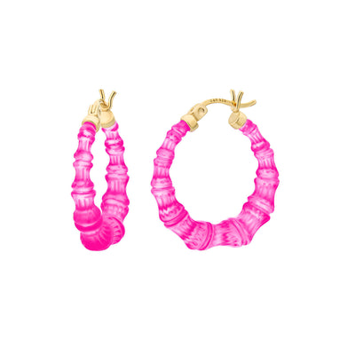 Mini Bamboo Hoops - PINK