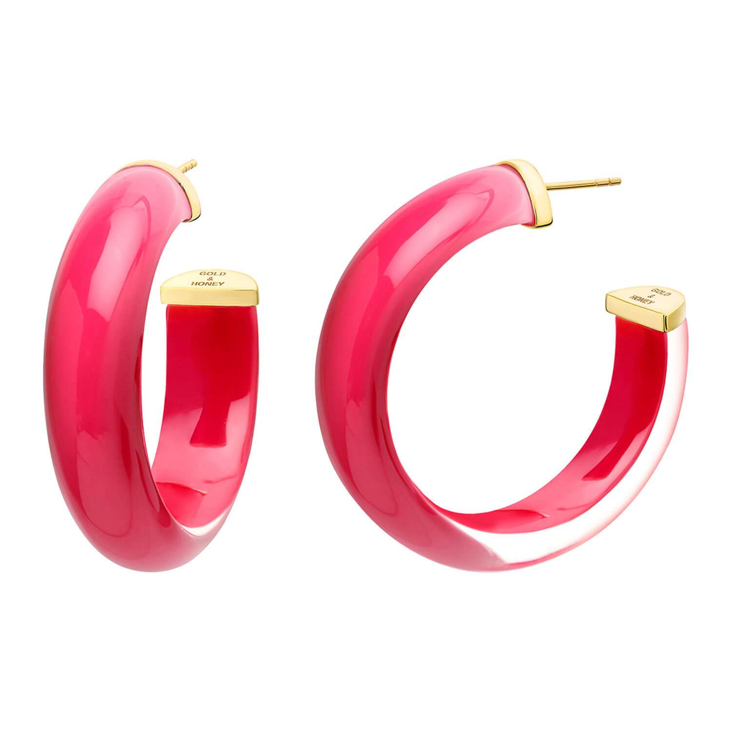 Medium Illusion Lucite Hoops in PINK PEACOCK