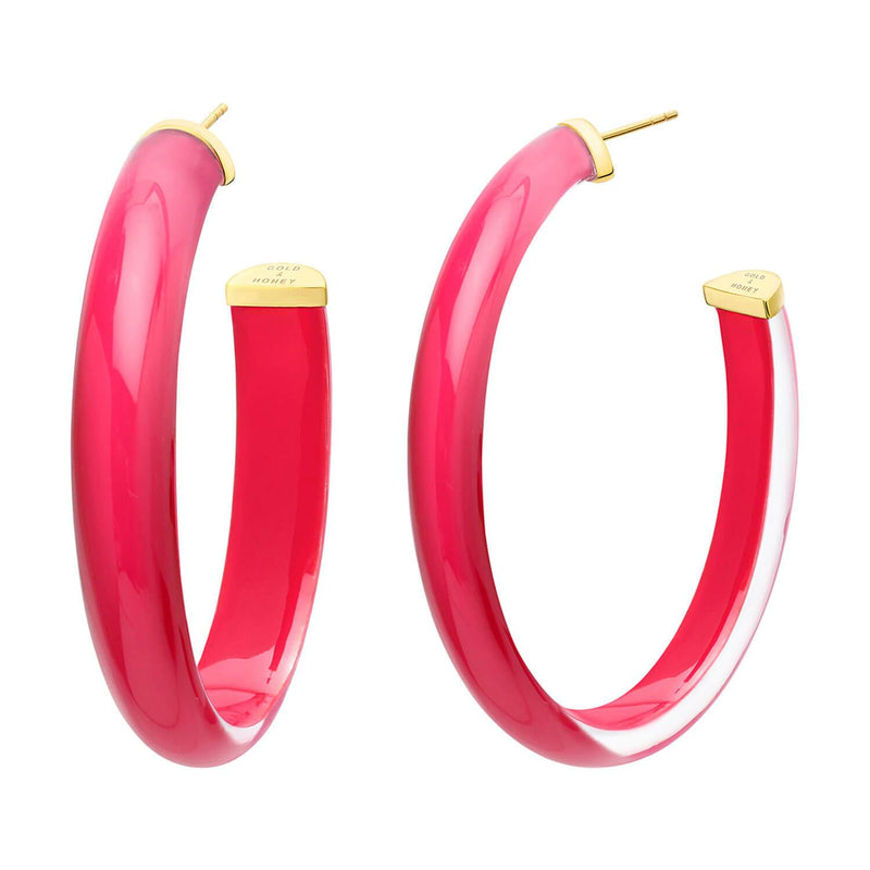 XL Oval Illusion Lucite Hoops in Neon<br> (More Colors Available)