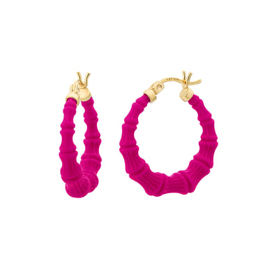 Mini Bamboo Hoops - PINK PEACOCK