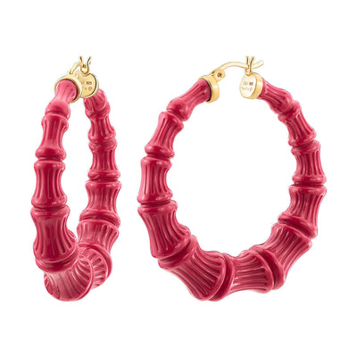 Pink Peacock Lucite Bamboo Hoops