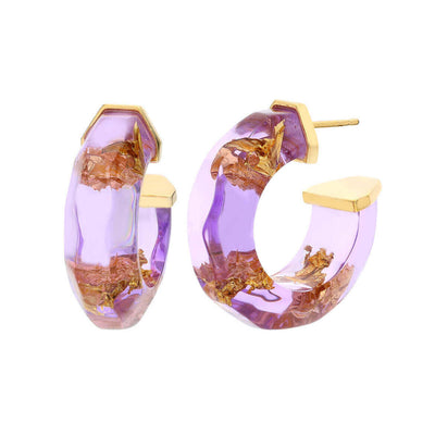 Color and Gold Leaf Lucite Hoops - PURPLE