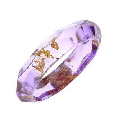 Color Gold Leaf Lucite Bangle - PURPLE