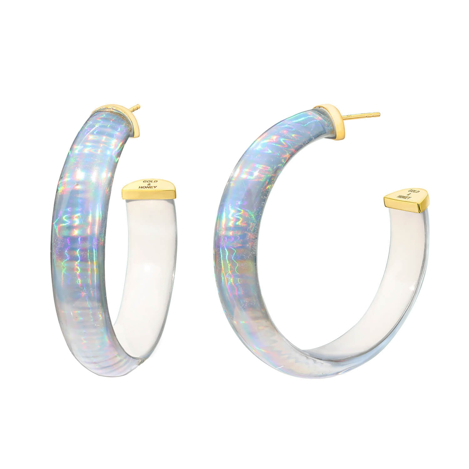 Rave Lucite Hoops in White