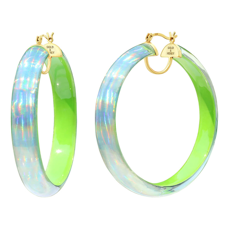 Rave Lucite Hoops in Neon Green